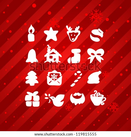 Christmas and Winter icons collection - vector silhouette