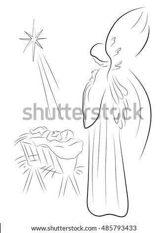 christmas angel and baby jesus