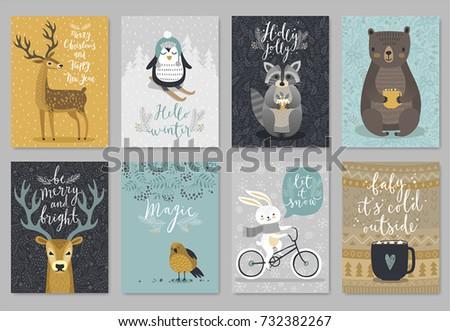 Christmas animals card set, hand drawn style. Vector illustration.