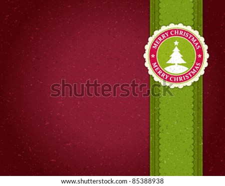 Christmas applique with tree vector background. Eps 10.