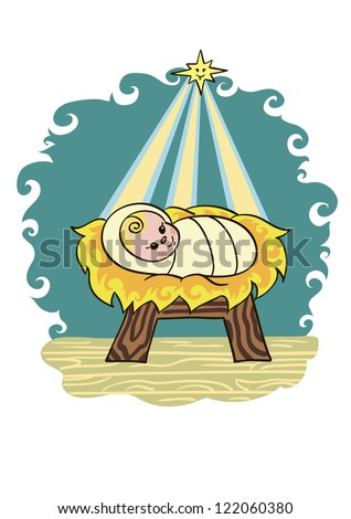Christmas baby jesus lying in a manger on straw he smiles at the