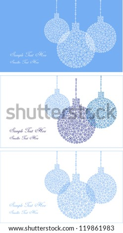 christmas backdrop design with three various cards, xmas decorations made of small snow flakes in blue and white with place for your text