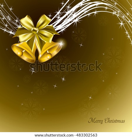Christmas Background. Abstract Golden Design with Christmas Bells.