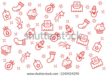 christmas background and happy new year 2019, christmas icons set #1240424290