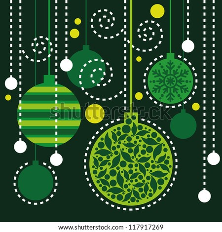 Christmas background, Christmas pattern, Christmas card with green decorations