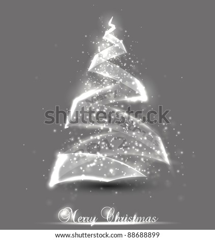 Christmas background. Christmas tree made from glass. Vector illustration.