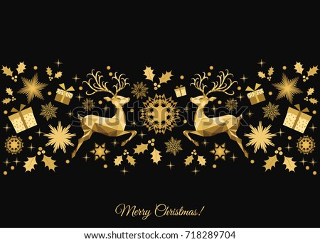 Christmas  background. Golden Xmas  tree decoration. Happy New Year pattern. Gold   reindeer and  snowflakes. Vector template  for greeting  card or party invitation .
