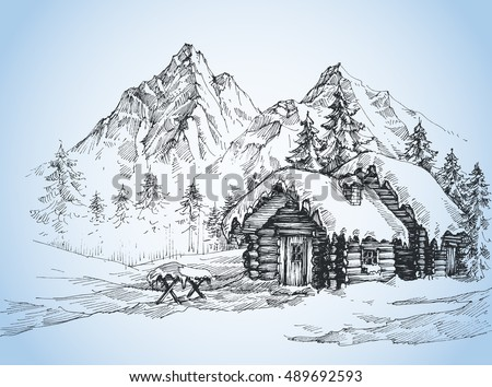 christmas background  house in