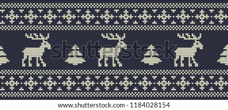 stock-vector-christmas-background-knitted-pattern-with-deers-and-fir-trees-on-a-navy-background-ornament
