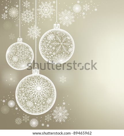christmas background of c balls and snowflakes