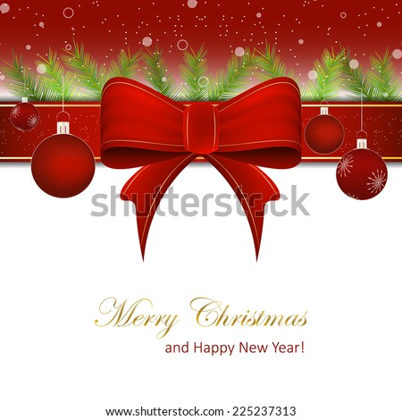 Christmas background or Happy New Year background with red ribbon, pine needles, christmas balls and snow/vector illustration