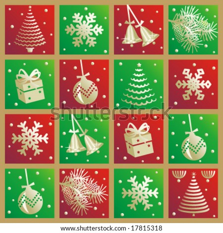 Christmas background or repeat pattern - red, green and gold checkered tiles with holiday icons
