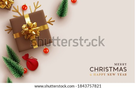 Christmas background. Realistic design with 3d Xmas decoration objects, gift box, fir green trees, bauble balls, gold metal shiny snowflake. Flatlay top view composition. Greeting card, banner, poster