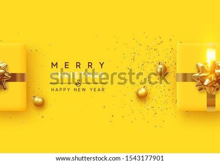 Christmas background. Realistic yellow gift boxes, with shiny golden confetti, Xmas balls, decorative baubles. Flat lay, top view. Festive New Year poster, greeting cards, banner. vector illustration