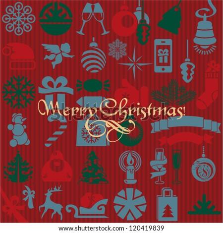 Christmas background. Seamless christmas background. Christmas icons.