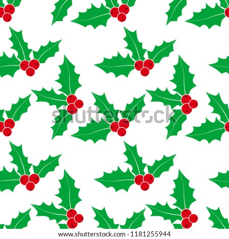 Christmas background. Seamless pattern with holly. Vector holly. Holly with berries. Symbol of Christmas.