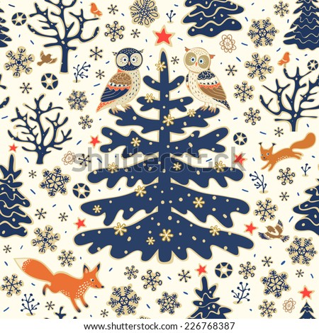 Stock Photo Christmas background. Seamless vector pattern. Owls, fox, squirrel, birds, Xmas tree, stars and snowflakes. Winter forest illustration.