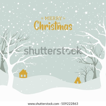 Christmas background. Snow winter landscape. Merry Christmas greeting card.