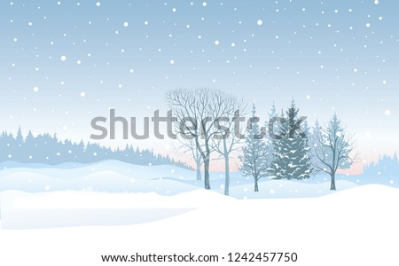 Christmas background. Snow winter landscape. Retro Merry Christmas snowy skyline. Winter nature holiday snowfall view.