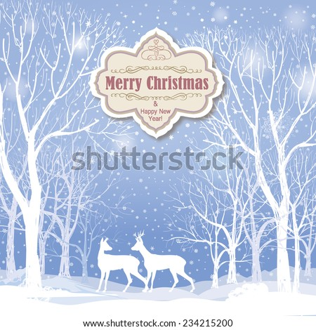 Christmas background. Snow winter landscape with deers.  Retro Merry Christmas greeting card.