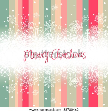Christmas background, stripes and snowflakes