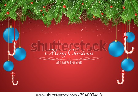 Christmas Background Template For Your Project Blue Balls Snowy Berries With A Fir