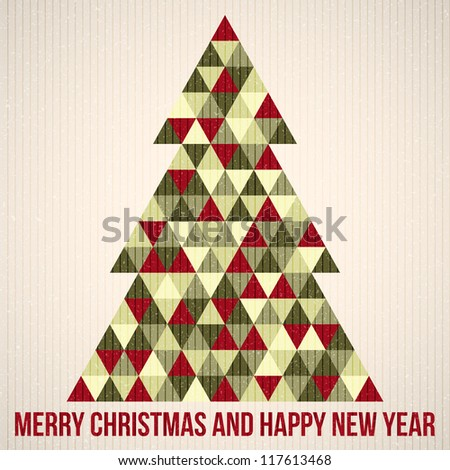 Christmas background. Vector illustration. Merry Christmas. Happy New Year. Vector pattern. Vintage vector. Christmas tree. Paper texture. Realistic cardboard