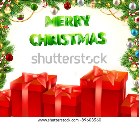 Christmas background vector image. Red gifts, fur-tree branches with Xmas balls. Free place for invitation text. Merry Christmas 3d vector text.