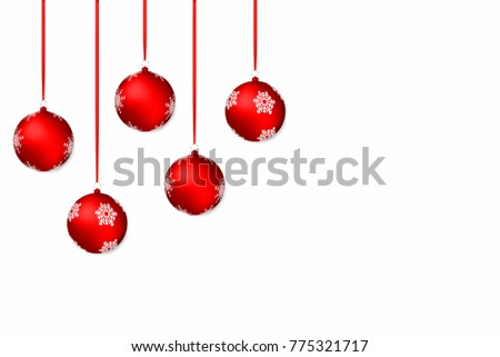 Christmas background. White holiday background with red christmas balls and ribbons. Vector #775321717