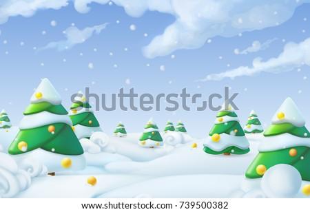 Christmas background. Winter landscape 3d vector illustration