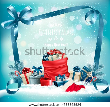 Christmas background with a red sack full presents and santa hat. Vector.