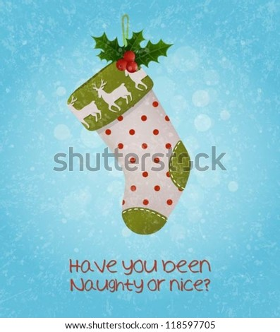Christmas background with a stocking