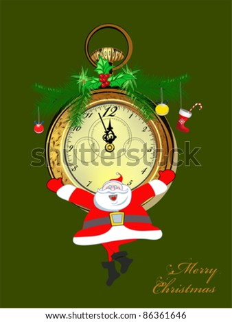 Christmas background with an old vintage clock and Santa Claus