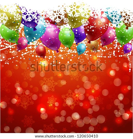 Christmas background with balloons and snowflakes