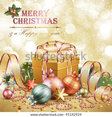 Christmas background with balls and gift box. Vector illustration.