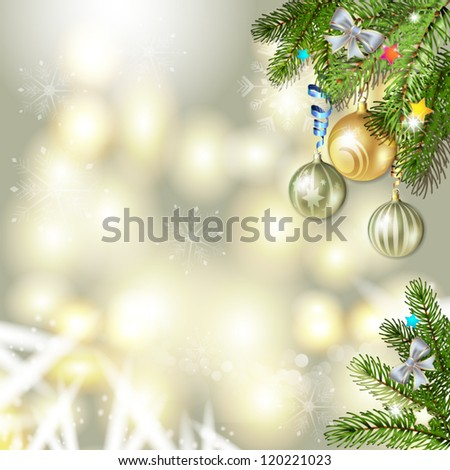 Christmas background with balls and pine tree branch #120221023