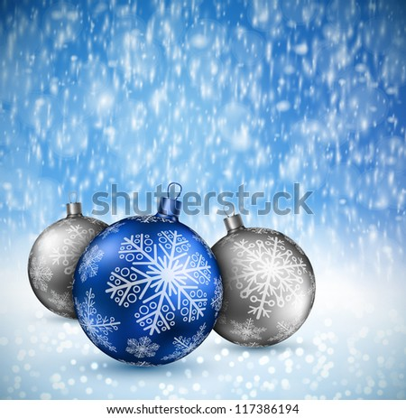 Christmas background with balls and snow. Eps 10