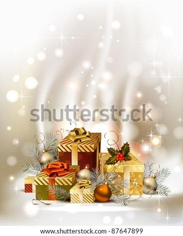 Christmas background with baubles and Christmas gifts