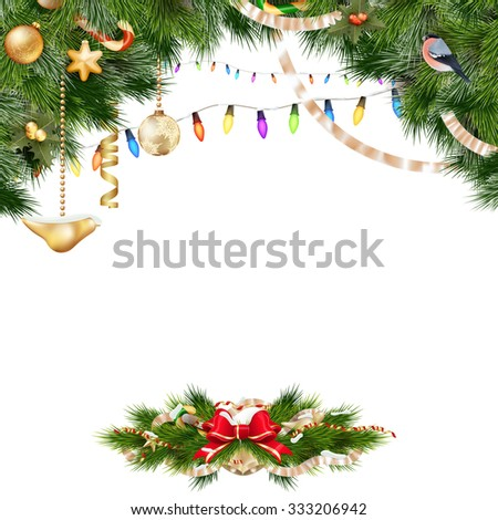 Christmas background with baubles and christmas tree. EPS 10 vector file included #333206942