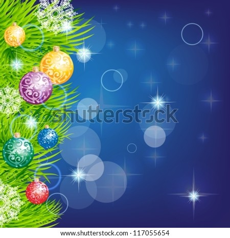 christmas background with baubles and christmas tree for design, vector