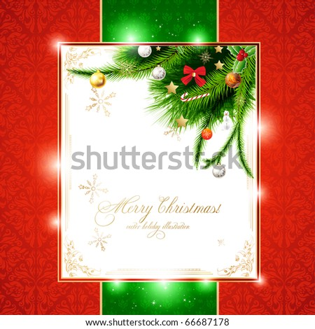 christmas background with baubles and christmas tree. New Year invitation with seamless background.