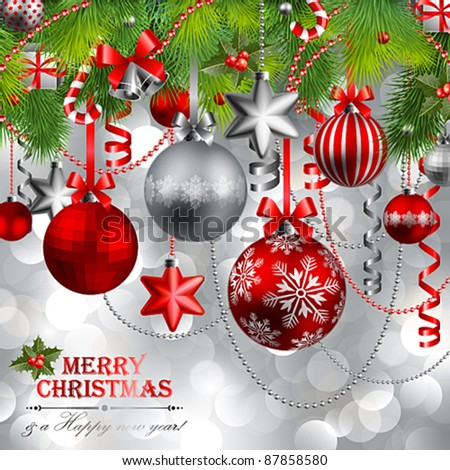 Christmas background with baubles and christmas tree. Vector illustration.
