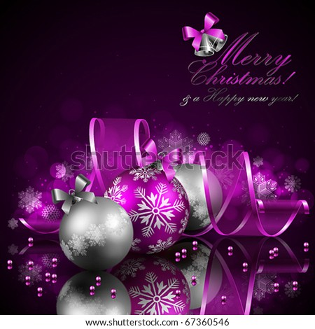 christmas background with baubles and ribbon - stock vector