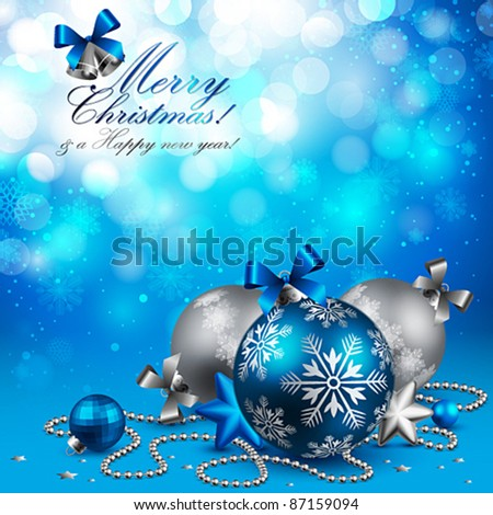 Christmas background with baubles on blue. Vector illustration.