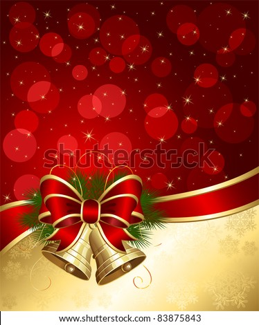 Christmas background with bells and blurry lights, illustration