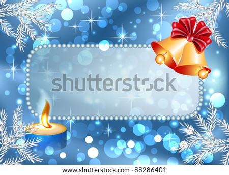 Christmas background with bells, burning candle and signboard