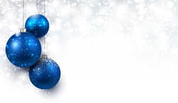 Christmas background with blue balls. Vector Illustration.
