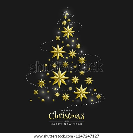 iridescent christmas background with border made of cutout gold foil stars and silver snowflakes