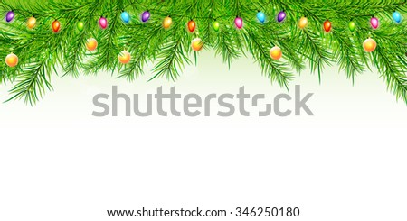 Christmas background with branch and balls #346250180