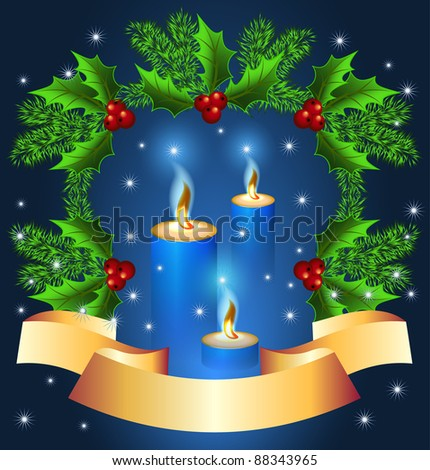 Christmas background with burning candle and golden ribbon